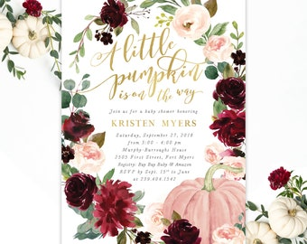 Fall baby shower invitations etsy a little pumpkin is on its way fall baby shower invitation fall baby shower invite girl burgundy and blush pink with greenery kristen filmwisefo