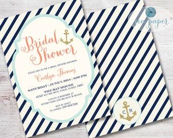 1cfa3ba400c7 Bay Nautical Bridal Shower Invitation Printed Invite  Navy Stripes Cream