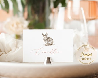 Flat place cards Place cards holder printable place cards Escort card Easter Place card template Easter18 Bunny place cards template
