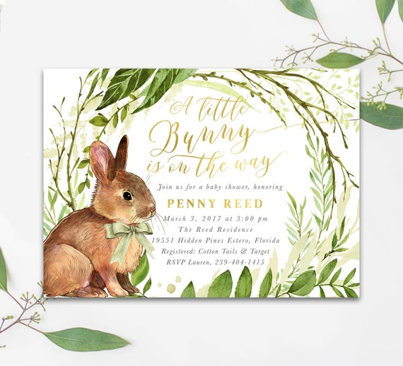 Bunny Baby Shower Invitation A Little Bunny Is On The Way Etsy