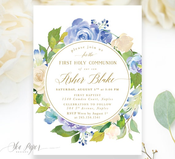 graphic regarding Printable First Communion Invitation known as Boy To start with Holy Communion Invitation, To start with Communion Invite