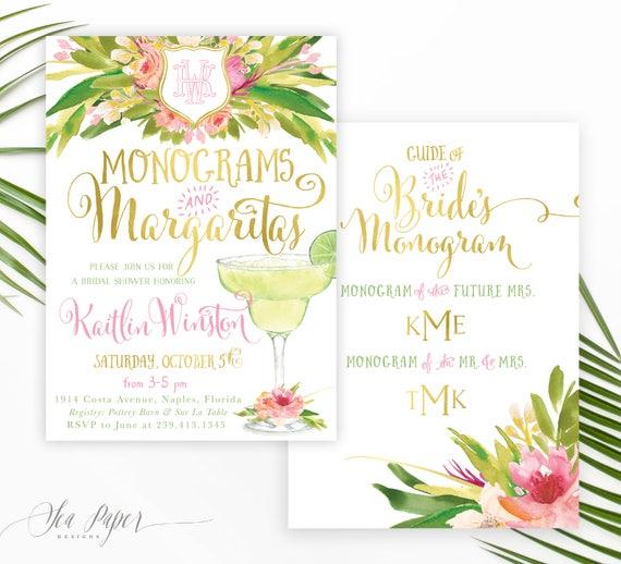 16848ab2e55e Monograms   Margaritas Bridal Shower Invitation  Monogram Bridal Shower  Invite