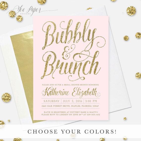 cda261edff1f Brunch   Bubbly Bridal Shower Invitation  Blush Pink