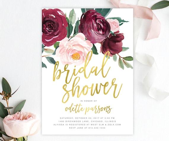 Bridal Shower Invitation Marsala Burgundy Wine Blush Pink