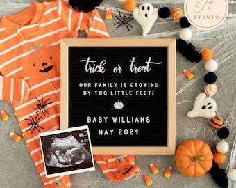 Editable Halloween Pregnancy Announcement, Pumpkin Pregnancy Announcement Template, Trick or Treat Gender Neutral Digital Baby Announcement