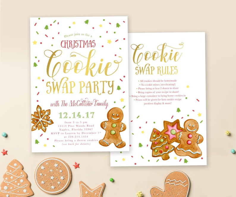 Christmas Cookie Swap Party Invitation Cookie Exchange Party Invite Holiday Party Invite Christmas Party Invite Holiday 38