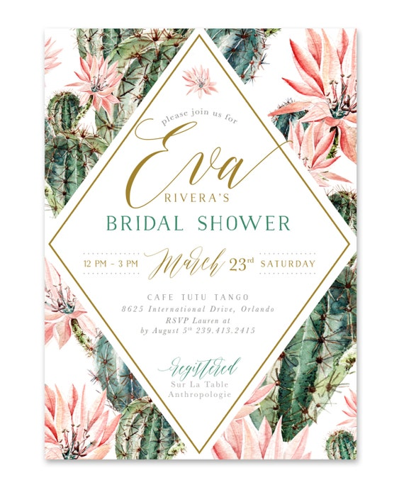 Boho Florals Pink Watercolor And Gold Lettering Invite Zara Succulent /& Cactus Bridal Shower Invitation