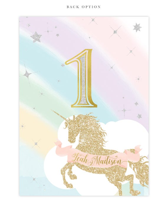 Unicorn 1st Birthday Invitation First