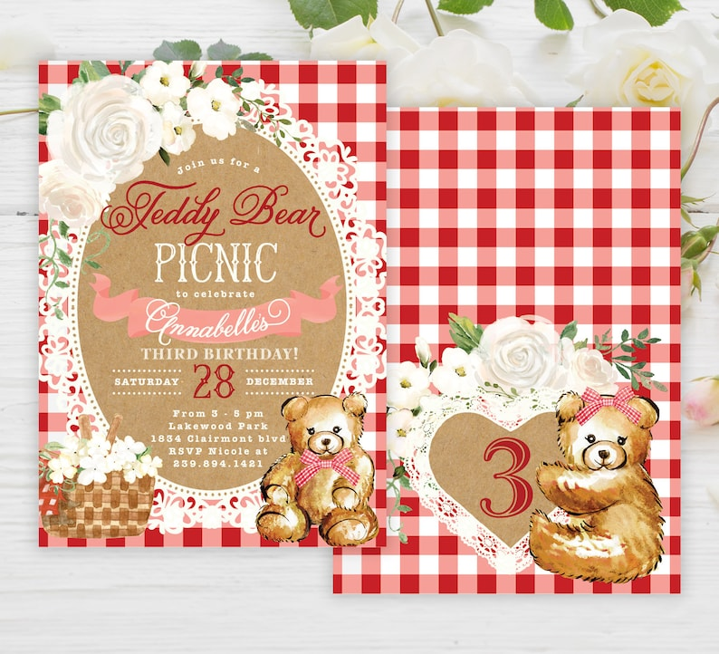 Teddy Bear Picnic Invitation Girl Birthday Party Invite Red