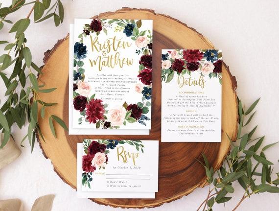 Navy Burgundy Blush Wedding Invitations Fall Wedding
