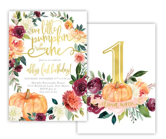 Our Little Pumpkin is Turning One Any Age Fall Autumn Pink Floral First 1st Girl Birthday Party Invite Invitation Digital or Printed Cards