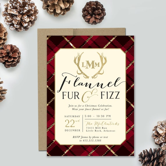 Christmas Cocktail Party Invitations.Holiday Party Invitation Flannel Fur Fizz Christmas Party