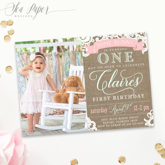 Some Bunny Baby Girl S First Birthday Invitation 1st Printed Digital Shabby Chic Light Pink Mint Or Blue Pastel Party Invite Claire By Sea Paper Designs Catch My Party