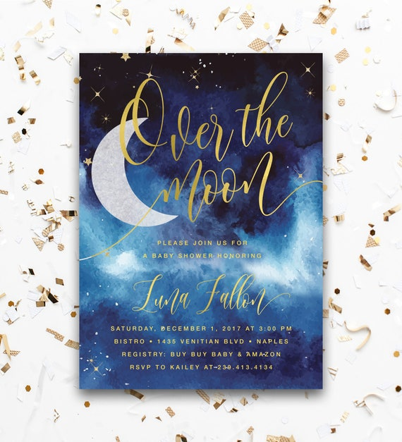 We/'re Over the Moon Baby Shower Invitation with Book Instead of Card Insert Digital Printable Invite Space Couples Baby Shower Invite