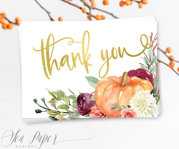 Fall Thank You Cards Pumpkin Thank You Cards Printable Fall Etsy