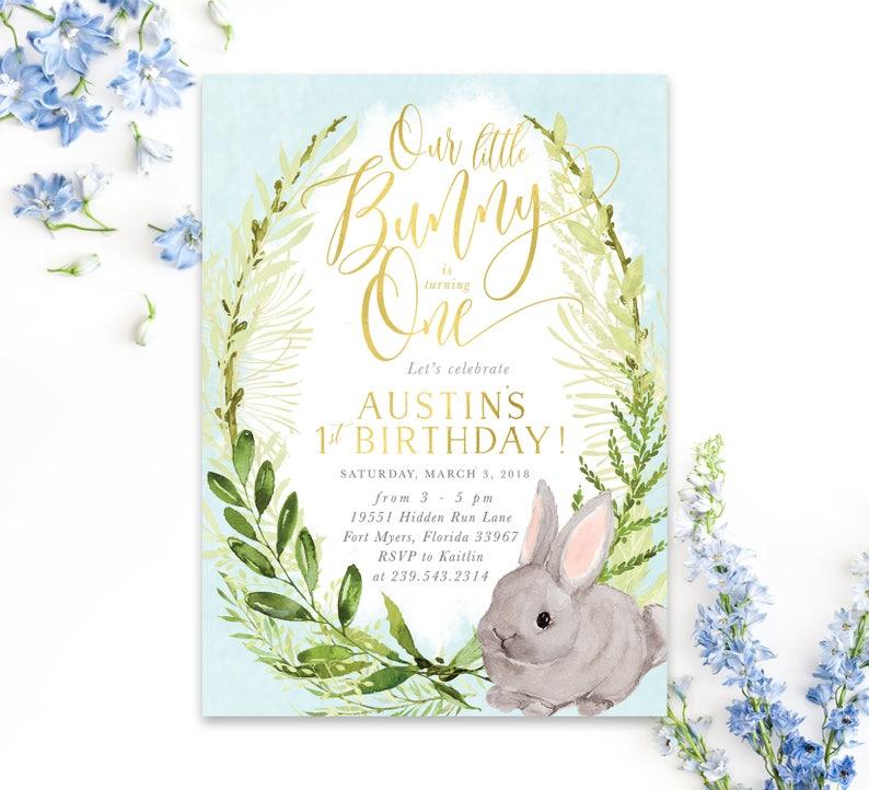 Our Little Bunny Invite Blue Fiona Boy Birthday Little Bunny Is Turning One Boy First Birthday Invitation Bunny 1st Birthday Invite