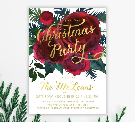 Christmas Party Invitations Holiday Party Invite Winter