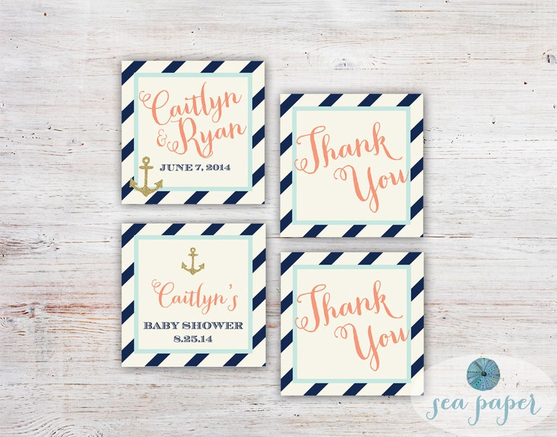 Bay Nautical Bridal Shower Invitation Printed Invite Navy Stripes Cream Mint And Peach With Gold Glitter Anchors