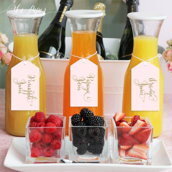 Mimosa Drink: Mia Mimosa Bar Juice Drink Tags Labels For Bubbly Champagne