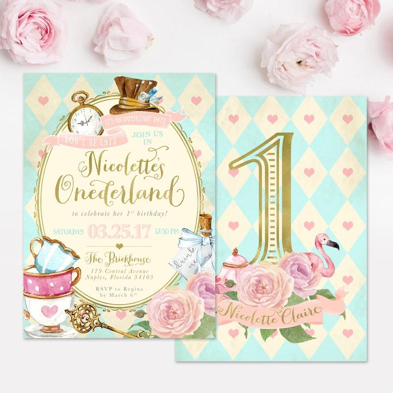 Alice In Wonderland onederland Girl's 1st Birthday Party image 0