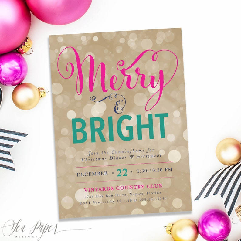 merry  u0026 bright  holiday party invitation christmas party
