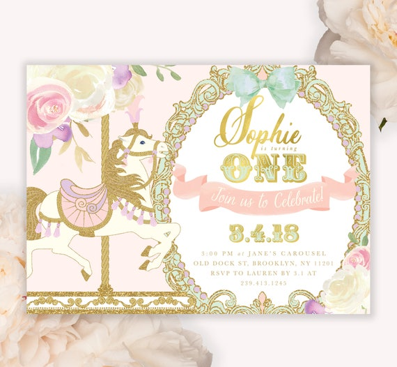 carousel girl s 1st birthday party invitation carousel etsy