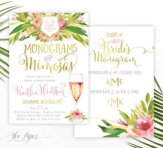 64e590dcf03f Monograms   Mimosas Bridal Shower Invitation  Mimosas and Monograms Bridal  Shower Invite