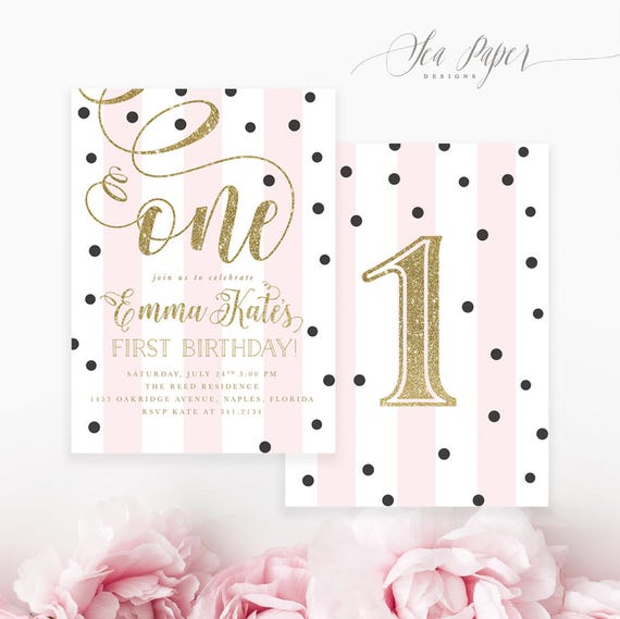 Pink Gold First Birthday Party Invitation Girl Invite 1st And Black