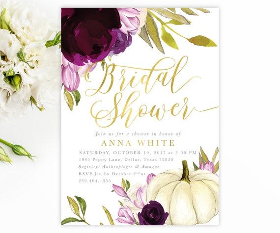 fall bridal shower invitation autumn bridal invite purple