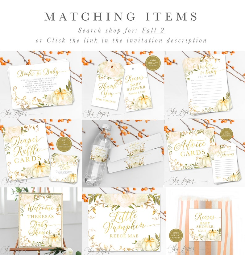 A Little Pumpkin is On the Way Baby Shower Invite Fall 2 Printed or Printable Autumn White Pumpkins /& Roses Fall Baby Shower Invitation
