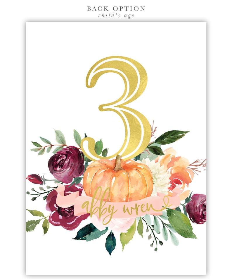 Invite Blush Printed Printable 7 Fall Birthday Invitation Any Age Girl Pumpkin Birthday Invitation: Autumn Fall Florals Burgundy