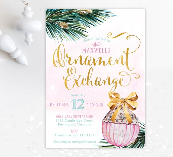 ornament exchange party invitation holiday party invite etsy