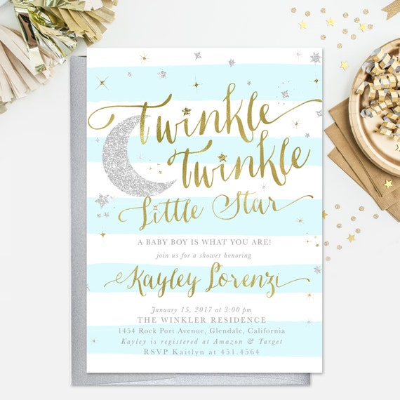 Moon and Stars Theme 3.5x5 Printable Books for Baby Card GTTLS Twinkle Twinkle Little Star Books for Baby Card Instant Download