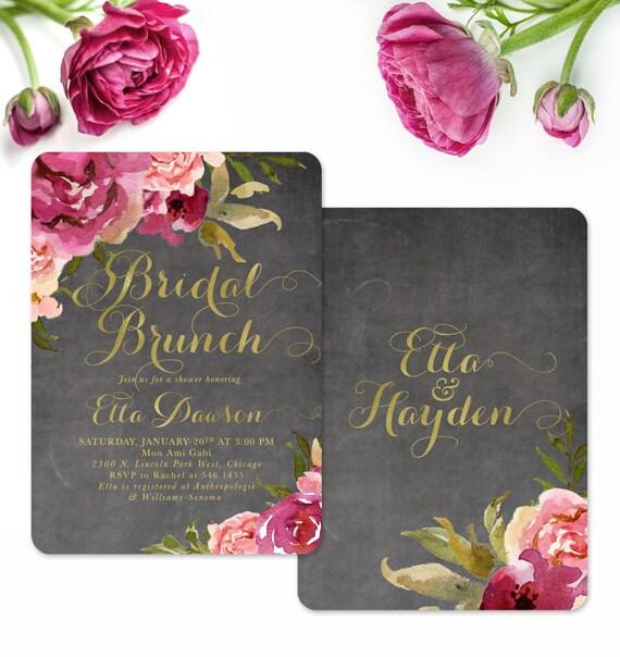 Bridal Shower Brunch Invitation Burgundy Blush Roses On