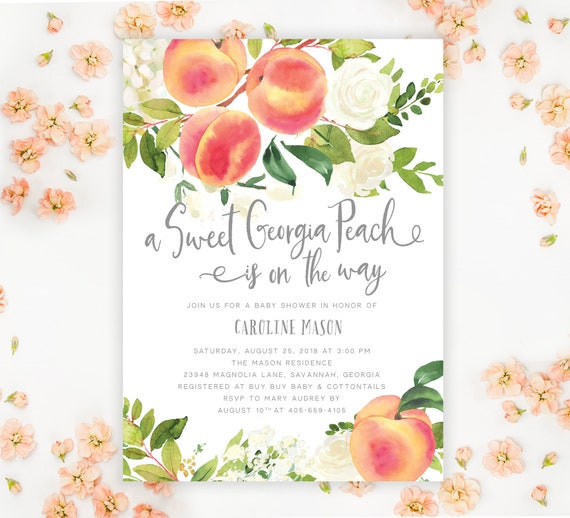 A Sweet Georgia Peach Baby Shower Invitation, Sweet Georgia
