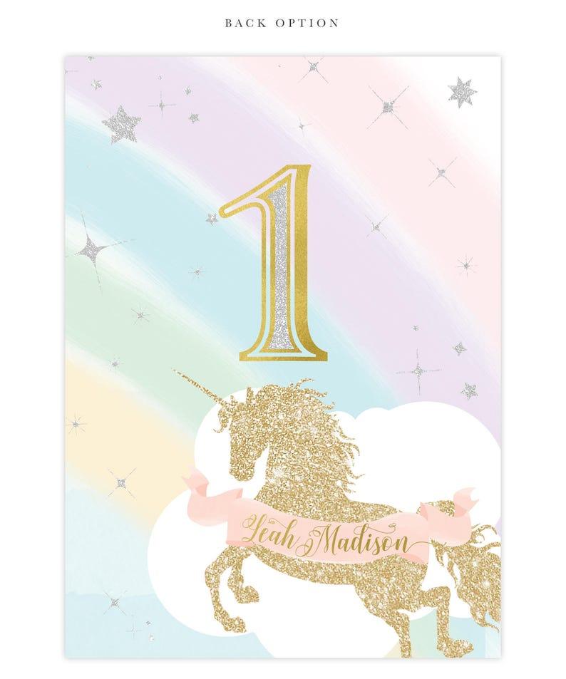 Unicorn 1st Birthday Invitation First