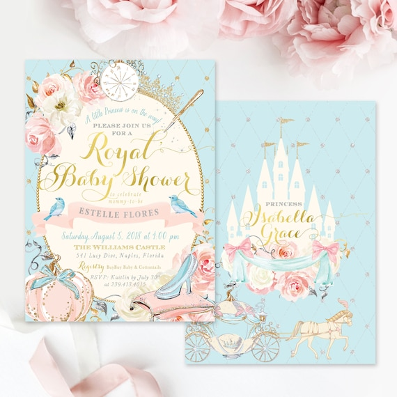 Cinderella Baby Shower Invitation Princess Baby Shower Etsy