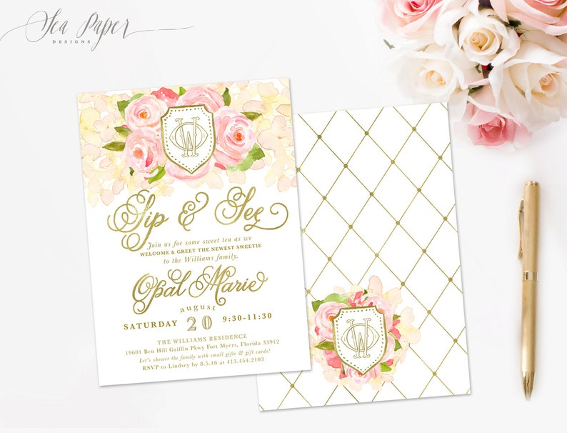 Opal Girl Sip and See Invitation Sip and See Floral Invitation Sip /& See Invitation Sip and See Baby Shower Invitation Southern Invite