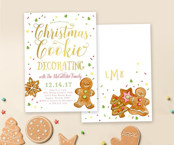 Christmas Cookie Party Invite.Christmas Cookie Party Invitation Holiday Cookie Decorating