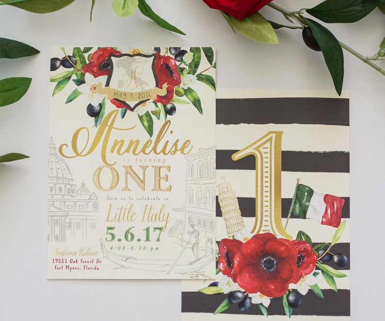 2a885578579 Italian Invitation  Little Italy 1st Birthday Baby Shower