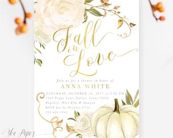 Fall Bridal Shower Invitation: Fall in Love, Autumn Bridal Shower Invite, Pumpkin, Gold & White Roses, Printed or Printable - Design Fall 2