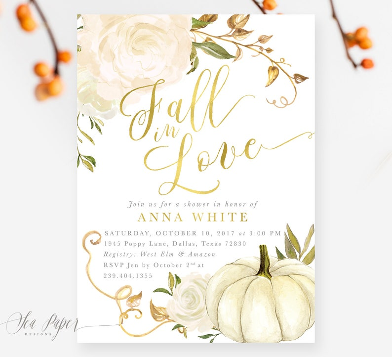 Fall Bridal Shower Invitation: Fall in Love Autumn Bridal image 0