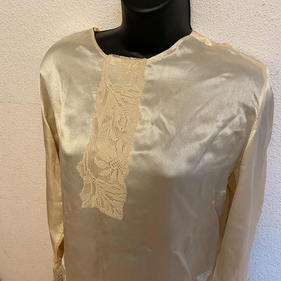 Antique Silk Lace Blouse Shirt Victorian - image 3