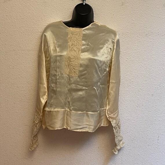 Antique Silk Lace Blouse Shirt Victorian - image 7