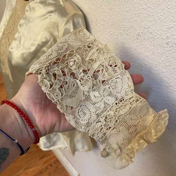 Antique Silk Lace Blouse Shirt Victorian - image 4