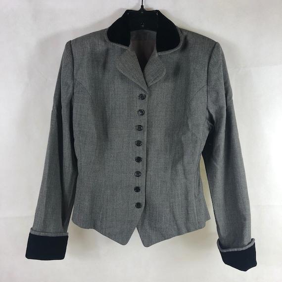 Vintage Suit Skirt Jacket 1940's M/L Wool and Velv