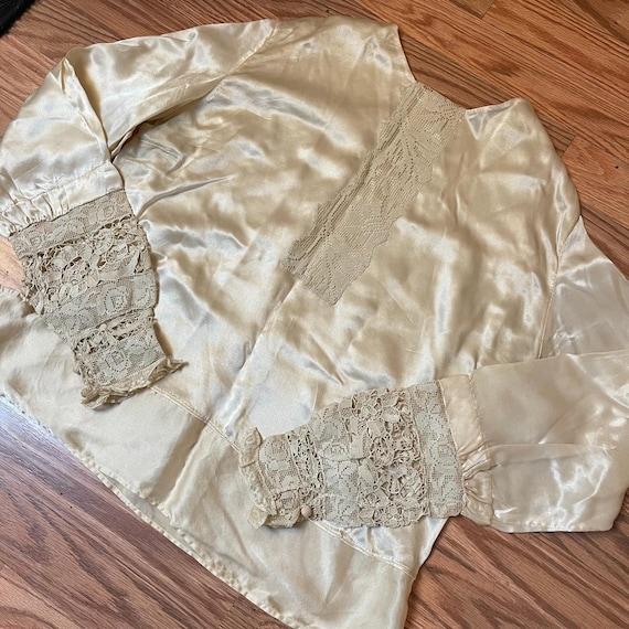 Antique Silk Lace Blouse Shirt Victorian - image 9