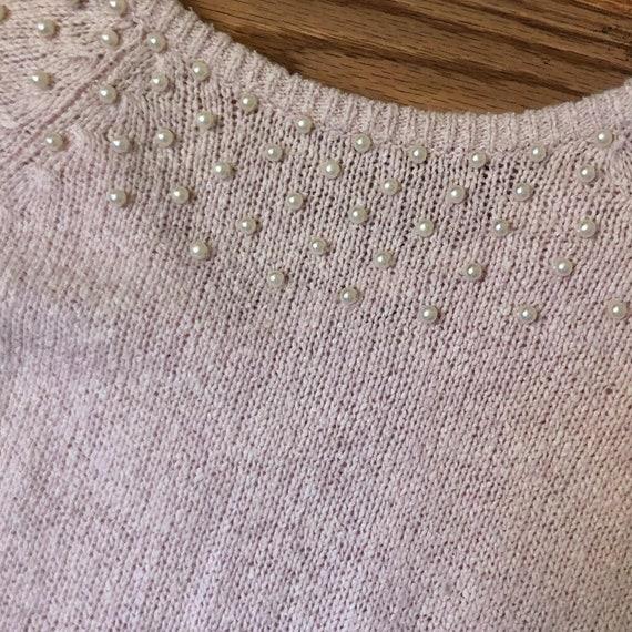 Vintage Knit Sweater Dress Silk Pink Beaded M Sil… - image 6