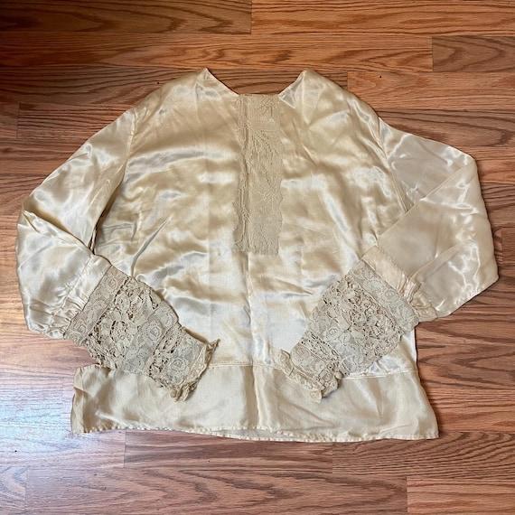 Antique Silk Lace Blouse Shirt Victorian - image 1