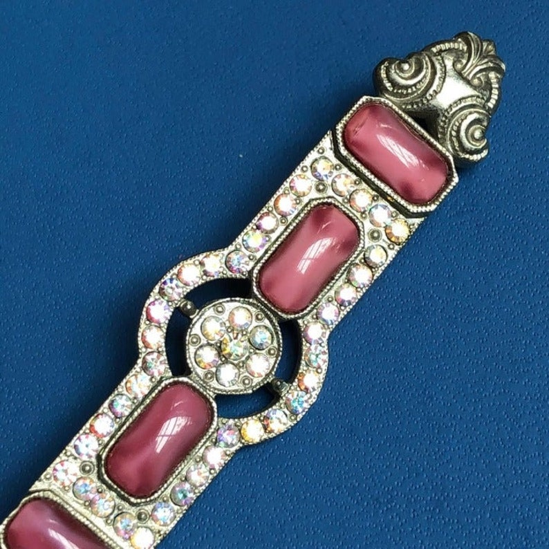Vintage Bar Pin Rhinestones Pink Stones Brooch